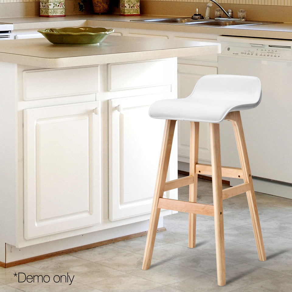 Trudy Bar Stool - White & Lt. Timber - Set Of Two