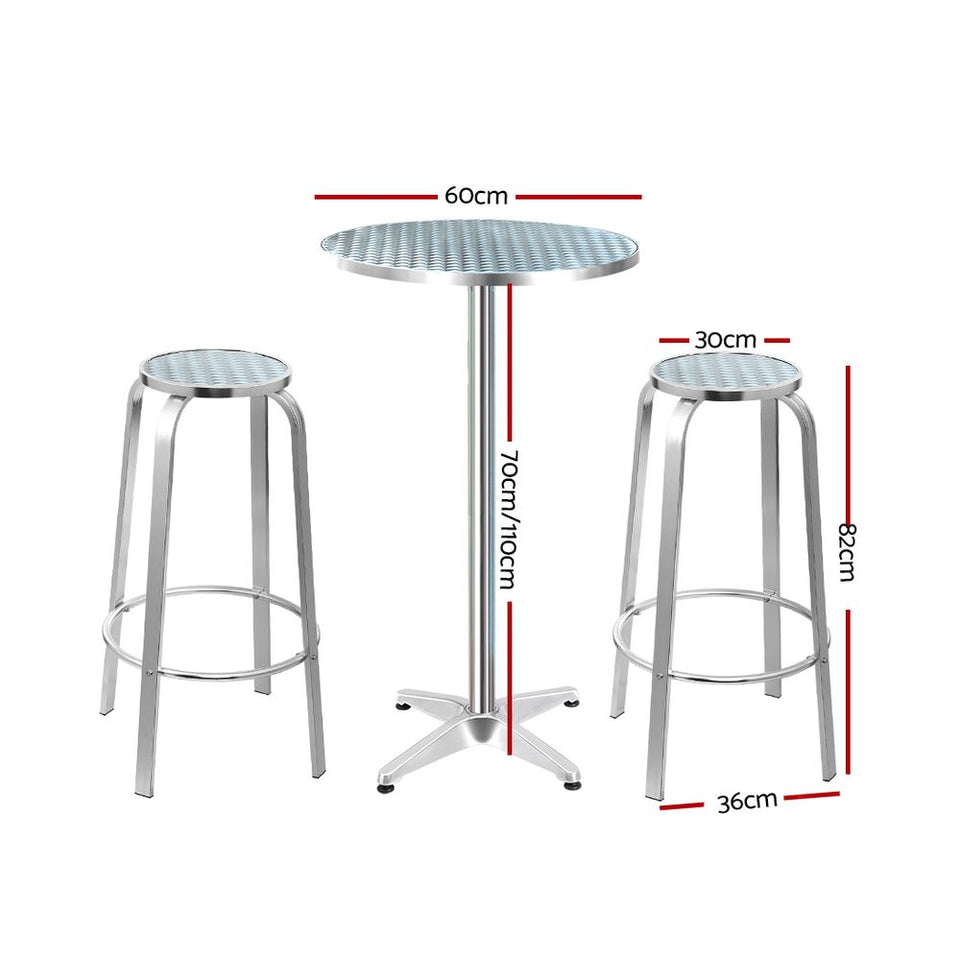 Maynard Bar/Bistro Set (3 piece ROUND Table & Stools) - Aluminium