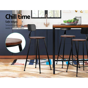 Alec Bar Stool - Black & Steel (Rustic/Industrial) - Set Of Two