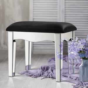 Suzi Mirror Stool - Unusual and Striking Mirror Finish & PU Leather [Currently OUT of Stock]