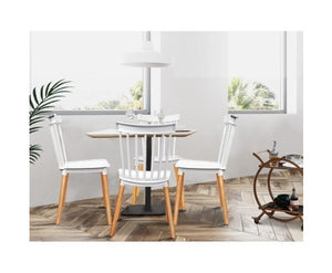 Audrey Cafe Seats / Dining Chairs White & Beech (set of 4)
