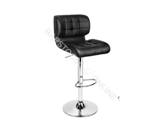 Emma Bar Stools - Padded Black & Chrome - Set Of Two - Lift