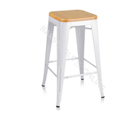 Teller Bar Stools - White Metal & Timber Top - Set Of Two [Currently OUT of Stock]