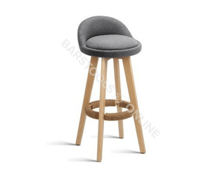 Paul Bar Stools - Padded Grey & Timber - Set Of Two