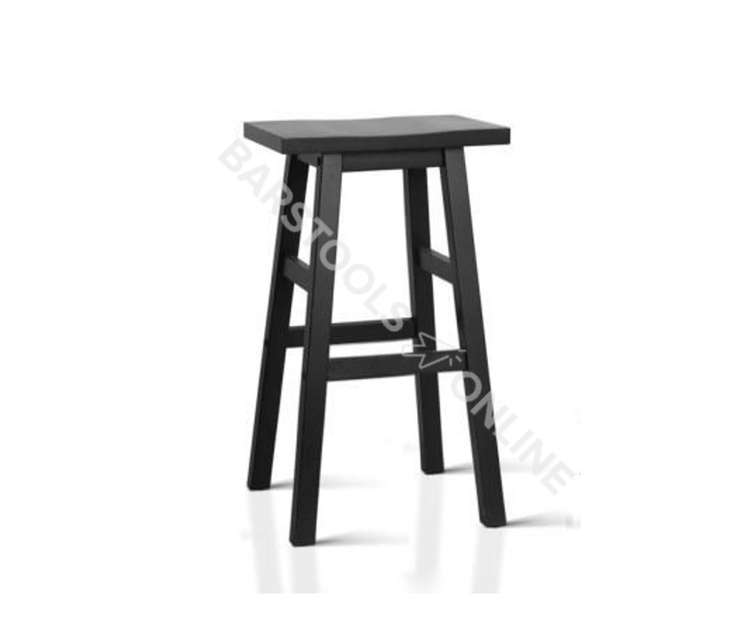 Edwards Bar Stools - Black Solid Timber (Retro) - Set Of Two