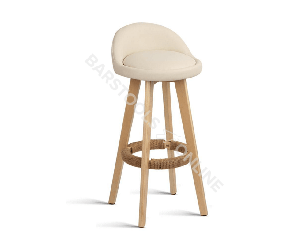 Paul Bar Stools - Scandi-inspired - Padded Creamy Beige (tones vary) & Timber - Set Of Two