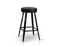 Lewis Bar Stools - Padded Black & Metallic - Set Of Two