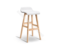 Trudy Bar Stool - White & Lt. Timber- Set Of Two