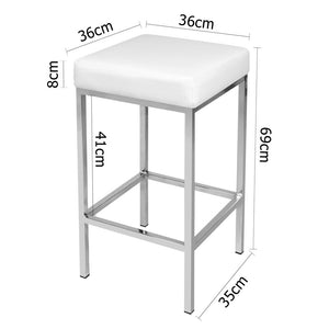 Reed Bar Stools x 2 (White / Chrome)