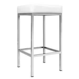 Reed Bar Stools - White / Chrome - Set Of Two