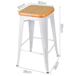 Teller Bar Stools - White Metal & Timber Top - Set Of Two