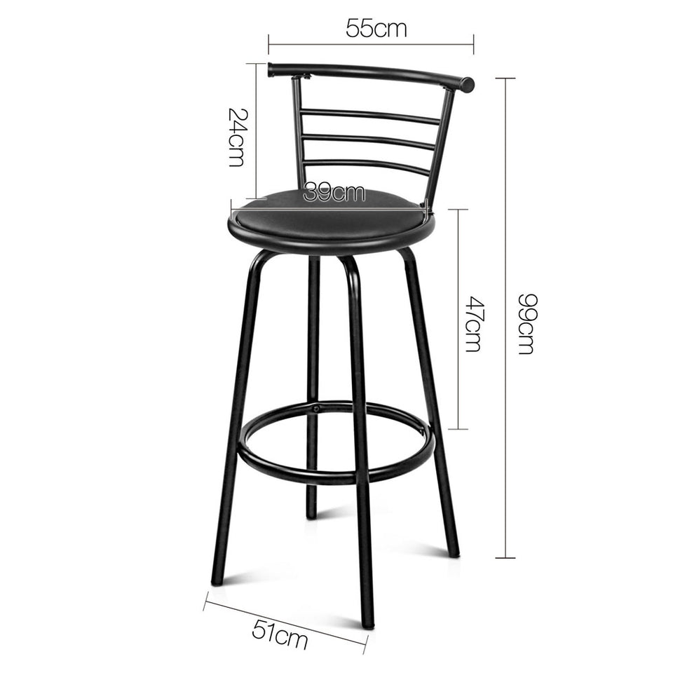 Russell Bar Stools - Black & Steel - Set Of Two [Currently OUT of Stock]