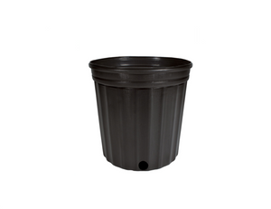 "These competitively priced standard black pots are the best of their class. These resin pots come with ample drainage and are more resistant to cracking in frigid weather than other brands. Made with 100% recycled, indestructible polyethylene material inside.  Outside Diameter: 8 3/4"" (22.23 cm) Height: 8 1/2"" (21.59 cm) Max Dry Volume: 370 cu.in. Max Liquid Volume: 1.6 gal / 6.06 L"
