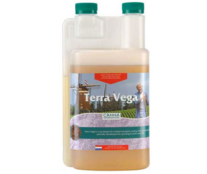Canna Terra Vega. 3-1-3. One part fertilizer for the growing stage in pre-fertilized soils and soilless mixes.