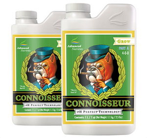 Advanced Nutrients Connoisseur Grow Part A&B. 4-0-0. 1-2-7. Strictly for the experts: an ultra premium 2-part grow phase base nutrient uniquely formulated for experienced growers.