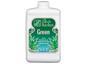 Dutch Nutrient Green. 3-2-0 Develops strong, healthy roots. Increases vegetative growth. Helps prevent leaves from yellowing.