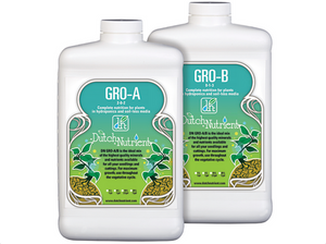 Dutch Nutrient Gro A&B. 2-0-2. 0-1-3. Gro A&B is complete nutrition for plants in hydroponics, soil & coco during the vegetative period.