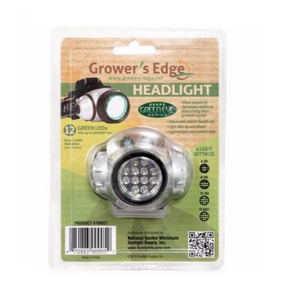 Go hands free with your lighting without disturbing your plants' photosynthesis process. This Grower's Edge Headlight features a wraparound nylon strap which fits snugly over your head without squeezing or pulling hairs. Placed prominently at the forehead level is a lightweight but bright green LED headlight. 12 high intensity LED bulbs burn for over 50,000 hours and operate on multiple setting levels. Requires three AAA batteries (sold separately).
