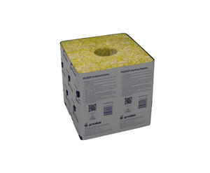 The Grodan Hugo is the largest rockwool block; 6 x 6 x 6 inch Growing blocks with 1-1/2 inch hole for smaller cubes. These are used for growing real big plants. These cubes work best with a drip system. In a flood system the top half can dry out quickly and lead to salt buildup so rinse often is necessary. These blocks are individually wrapped in plastic on four sides to hold moisture and stop alga growth. The base of each block is grooved for drainage. Holes in the center for the 1.5 inch cube.