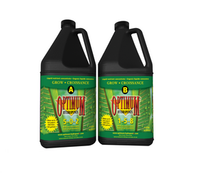Optimum hydroponix 2-part liquid nutrient concentrate provides gardens with balance and proper nutrients targeting specific needs from seedling to harvest.  • Formulated with laboratory grade micro and macronutrients.  • Stimulates structural and vegetative growth yielding lush, green foliage.  • Promotes healthy roots and dense vegetation.  • Stimulates flower and fruit development heightening flavour, aroma and essential oils.   • Ideal for all hydroponic gardening systems, soil and soilless substrates.