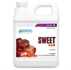 Botanicare Raw. Sweet Raw is specially formulated to produce beneficial results during all phases of plants growth. Use in conjunction with Botanicare plant nutrients or preferred plant food and nutrient supplements. Sweet Raw is effective in container gardens and hydroponic systems.