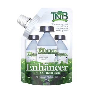 The Enhancer now comes in a convenient refill pack! The TNB CO2 Refill Pack gives growers the ability to reuse their existing Enhancer bottle while saving money and reducing their environmental footprint at the same time. Simply empty the contents of the original bottle and give the bottle a quick rinse. The contents of the Refill Pack can be added and instantly CO2 is once again available for use. Boosting plant production and improving overall health, CO2 is an essential element of photosynthesis and ofte