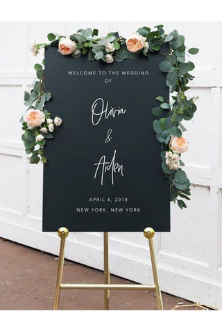 Black and white wedding welcome sign