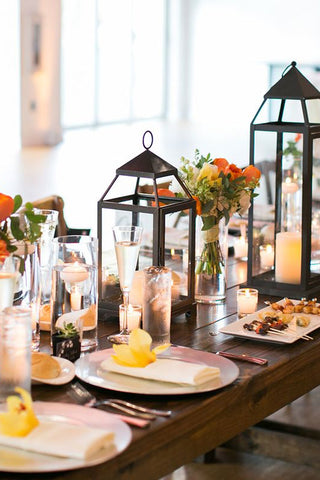 Black wedding lantern centerpieces