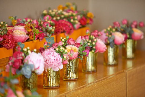 Bright Florals and Mercury Glass Vases
