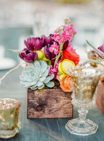 Bright Florals in wooden box wedding centerpiece