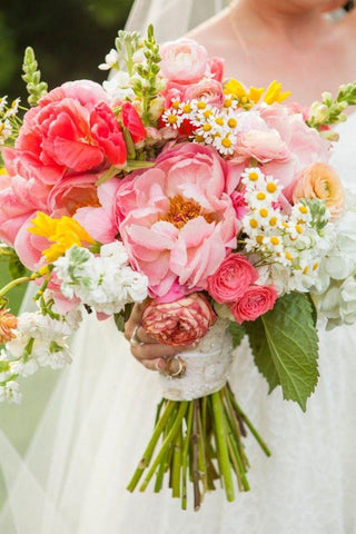 Bright and colorful wedding bouquet