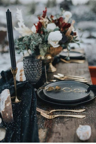 Moody Black and Gold wedding decor