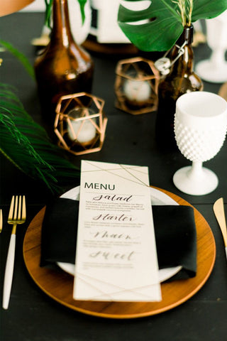 Black gold and white wedding decor