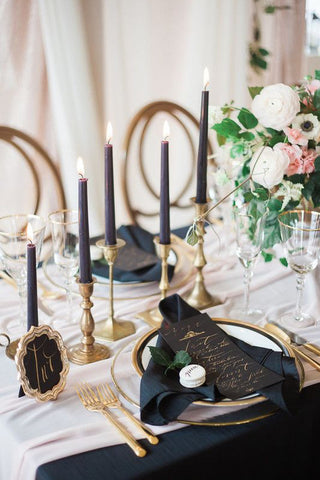 Black Gold and Ivory wedding centerpiece