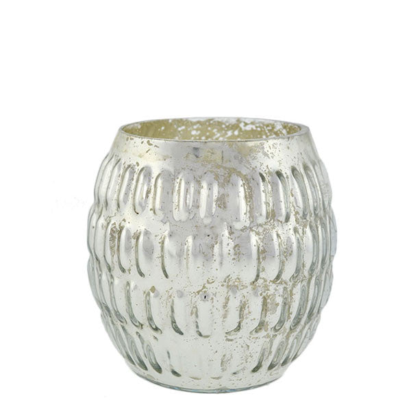 Barrel Shaped Mercury Glass Votive