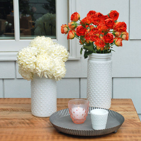"White Hobnail Vase 10"" Rental"