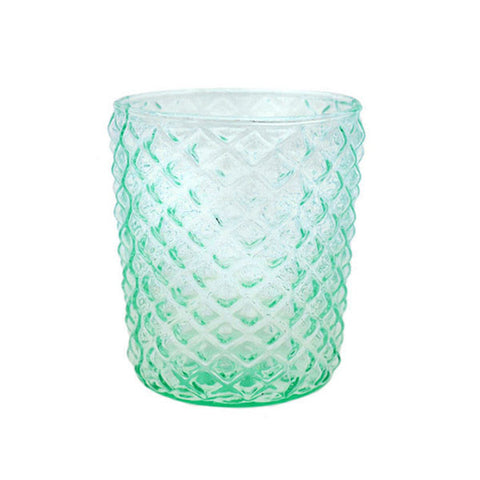 Aqua Geometric Glass Votive