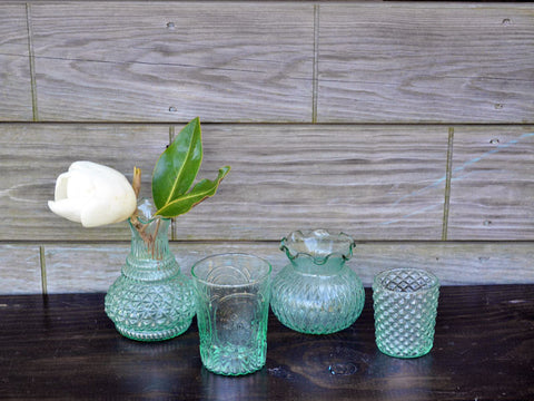 Aqua Pressed Glass Ruffle Vase