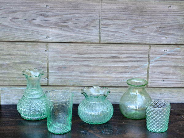 Aqua Pressed Glass Ruffle Vase Rental