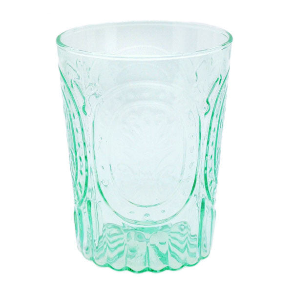 Aqua Pressed Glass Votive