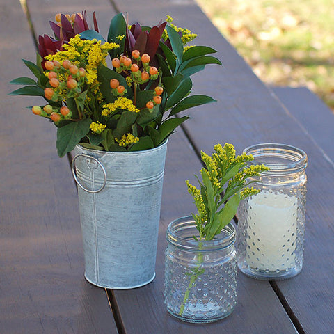 French Market Metal Vase with White Wash
