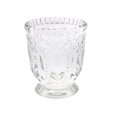Deco Textured Pressed Glass Votive