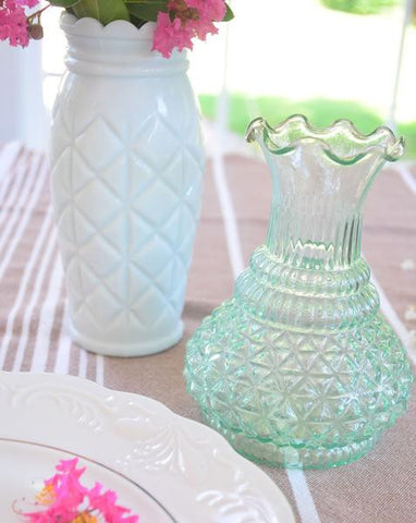 Aqua Scalloped Top Bud Vase