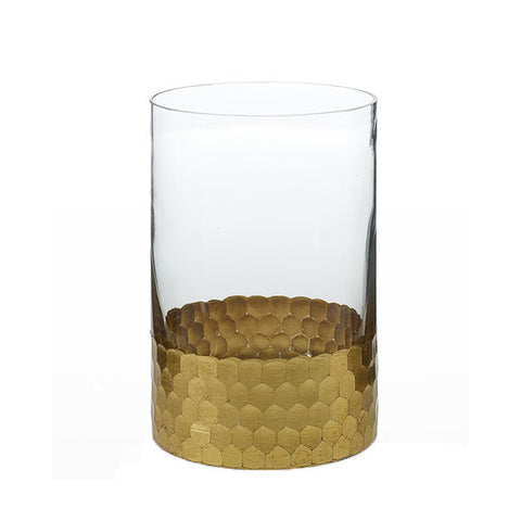 Elsa Hurricane Vase with Gold Honeycomb Accent Rental