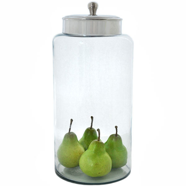 "Large Glass Canister with Lid 16.5"" Rental"