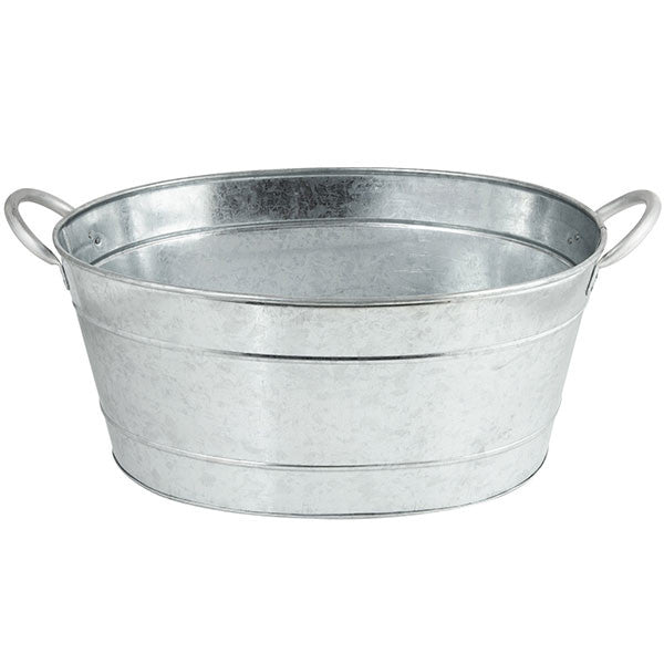 Large Oval Shaped Galvanized Beverage Tub Rental -- 5.5 gallons