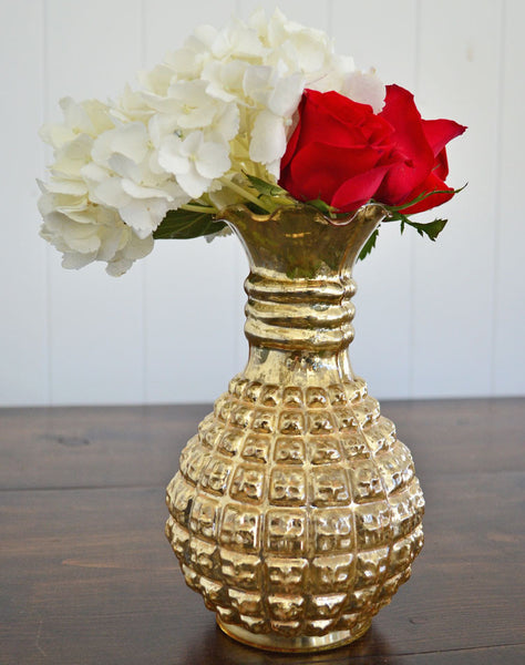 Gold Mercury Glass Decorative Vase Rental