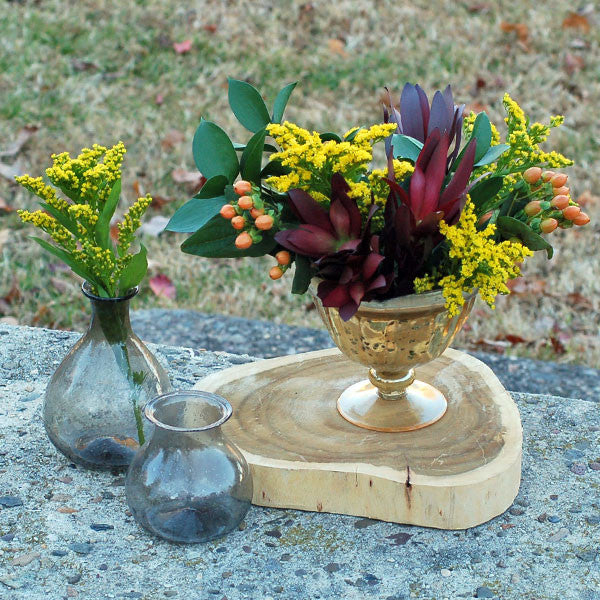 Gold Mercury Glass Compote Vase Rental