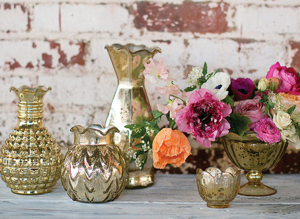 Rose Gold Mercury Glass Vase Rental