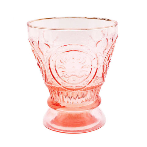 Vintage Pink Pressed Glass Deco Votive